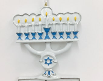 FREE SHIPPING Menorah Personalized Ornament / Blue and White Menorah Ornament / Blended Family Ornament / Hannukah and Christmas / Judaica