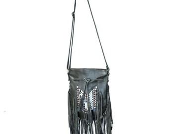 N44P- Olive Green Indian leather Handbag, Native American Style bag. Crossbody bag