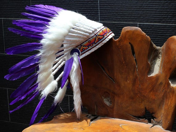 FLUOR COLLECTION: Purple Indian Warbonnet .Native American Style Feather Headdress