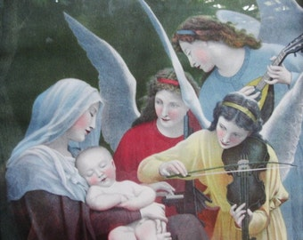 French Artist Bouguereau , Three Angels Playing music for Mary and baby Jesus by Bouguereau