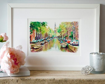 Amsterdam Canal Watercolor painting Wall art Amsterdam poster Wall decor Printable art Cityscapes Watercolor poster Amsterdam art Room decor