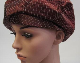 Vintage Chocolate Brown Satin Hat, brown vintage beret, satin brown beret, 1960's brown beret hat, vintage brown satin hat