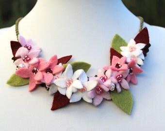 Cherry Blossom Necklace, Pink Flower Cluster Felt Bib Necklace, Floral Jewellery, Spring Wedding, Bridal Necklace, Pink Necklace