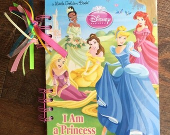 Disney Princess Journal Autograph Book - Upcycled Little Golden Book - Recycled Notebook - Upcycled Journal