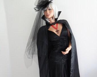 Beautiful Black Gothic Vampiress-Dracula's Wife-High Class Vampire-City Vampire-Model Vampire  Costume Wig/Hat/Dress/Cape/Necklace Size S-M