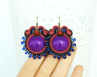Purple soutache earrings with howlite stones, Round purple earrings, Embroidered drop earrings, purple and pink earrings