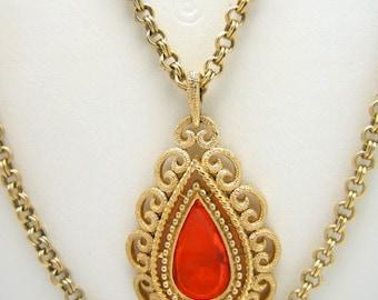Vintage Avon Pendant Necklace Stunning Orange Glass