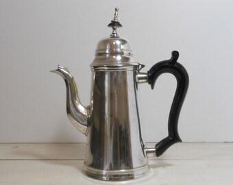 Vintage Silver Plate Coffee Pot - Black Handle