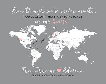 Gift for Foreign Exchange Student, World Map, Host Family, Host Parents, Host Daughter, Son - Long Distance Map, Au Pair, Nanny | WF261