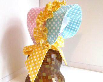 Baby Girl Bonnet, size 6-12mo, baby girl summer hat, polka dot bonnet, baby bonnet, baby hat.