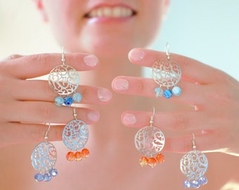 Loops ears arabesques silver metal and glass faceted beads and Murano - colours - blue, orange, turquoise