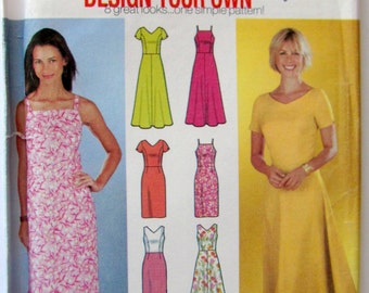 Simplicity 7072,  Design Your Own Dress with Skirt Variations ,Empire Waist, Fitted Bodice, Straight Skirt, Flared Skirt, Sizes 14 to 20