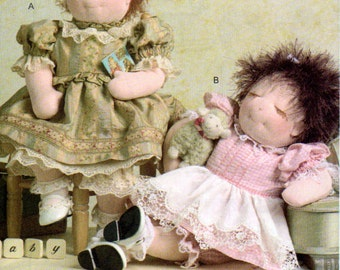 Vogue 7985, 15 Inch Baby Doll and Her Clothing Pattern, Transfer Pattern For Face,Pattern for 2, 15 Inch Dress,Petticoat, Bloomers and Apron
