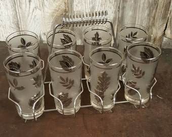 Mid Century Mad Men Glasses On the Rocks Set of 8 Glasses Silver with Caddy