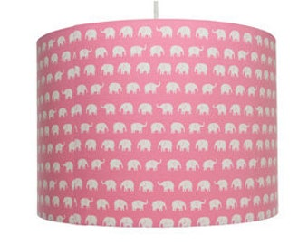 Elephant Print, White on Pink or White on Red, Cotton Fabric Drum Lampshade, Girl's Bedroom, Nursery