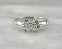 Superb Square Cut Diamond Engagement Ring in Vintage White Gold QLPJ2T-N
