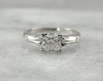 Superb Square Cut Diamond Engagement Ring in Vintage White Gold QLPJ2T-N