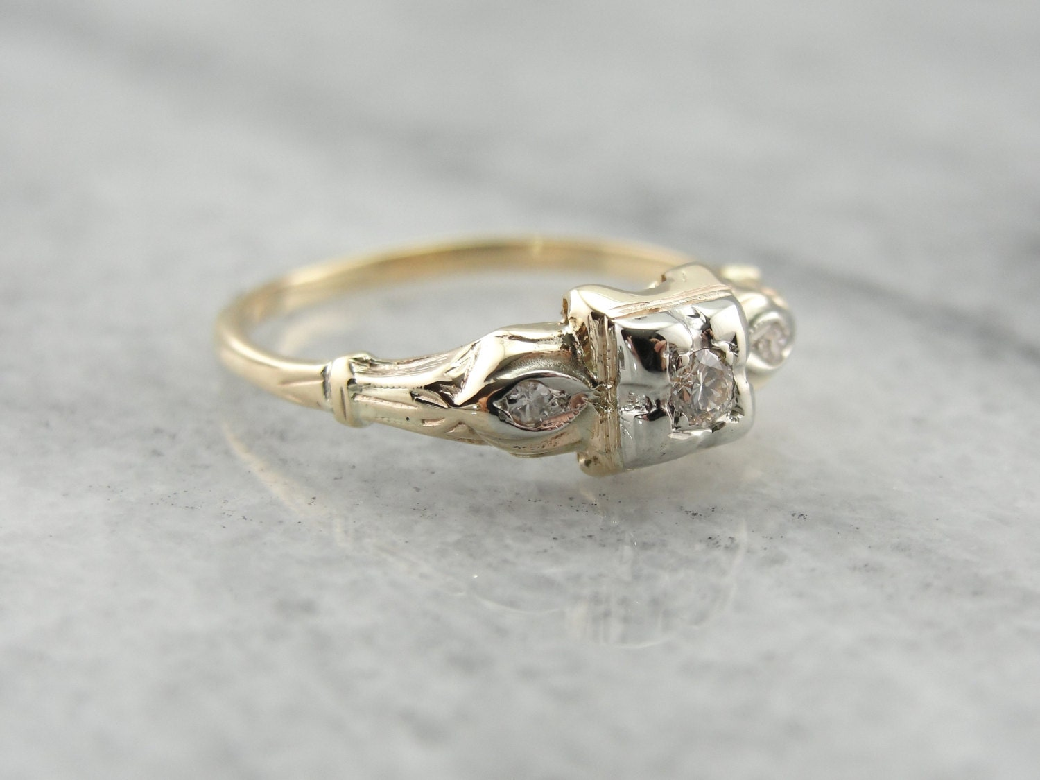 1930's Antique Diamond Engagement Ring YDKMFR-R