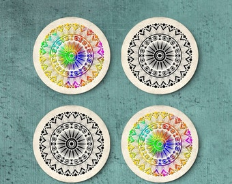 Mandala coasters, Set of round boho drink coasters, Colorful, Black and white, Holiday gift, Hostess gift, CR070