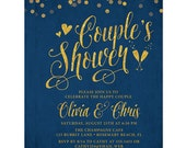 Navy & Gold Couple's Shower Invitations - Printed Couple's Shower Invitations - Printable Couple's Shower Invitations - Champagne Glasses