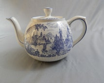 Beautiful Vintage Staffordshire Ironstone Teapot, Safe Harbour, Classic Blue and White Transferware, Circa 1970s