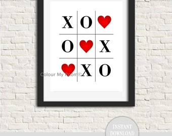 LOVE WINS Valentine Tic Tac Toe Printable DIY Home Decor Wall Art Print Wedding Anniversary Instant Download