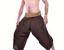 Limited Edition Dark Brown Samurai Pants with Hmong Embroidery fabric on Edge, One size fits All, Unique Handmade