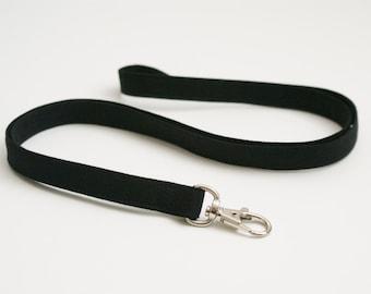 Solid Black Skinny Fabric Lanyard - Thin Lanyard with Swivel Clasp - 1/2 Inch Wide Key Lanyard - 19.5 Inch Long Key Strap - Teacher Lanyard