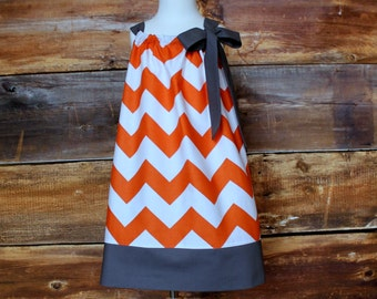 Tennessee Volunteers Orange Chevron Pillowcase Dress / Grey - Newborn to Child 11/12 girls baby toddler infant UT Vols grey spring summer