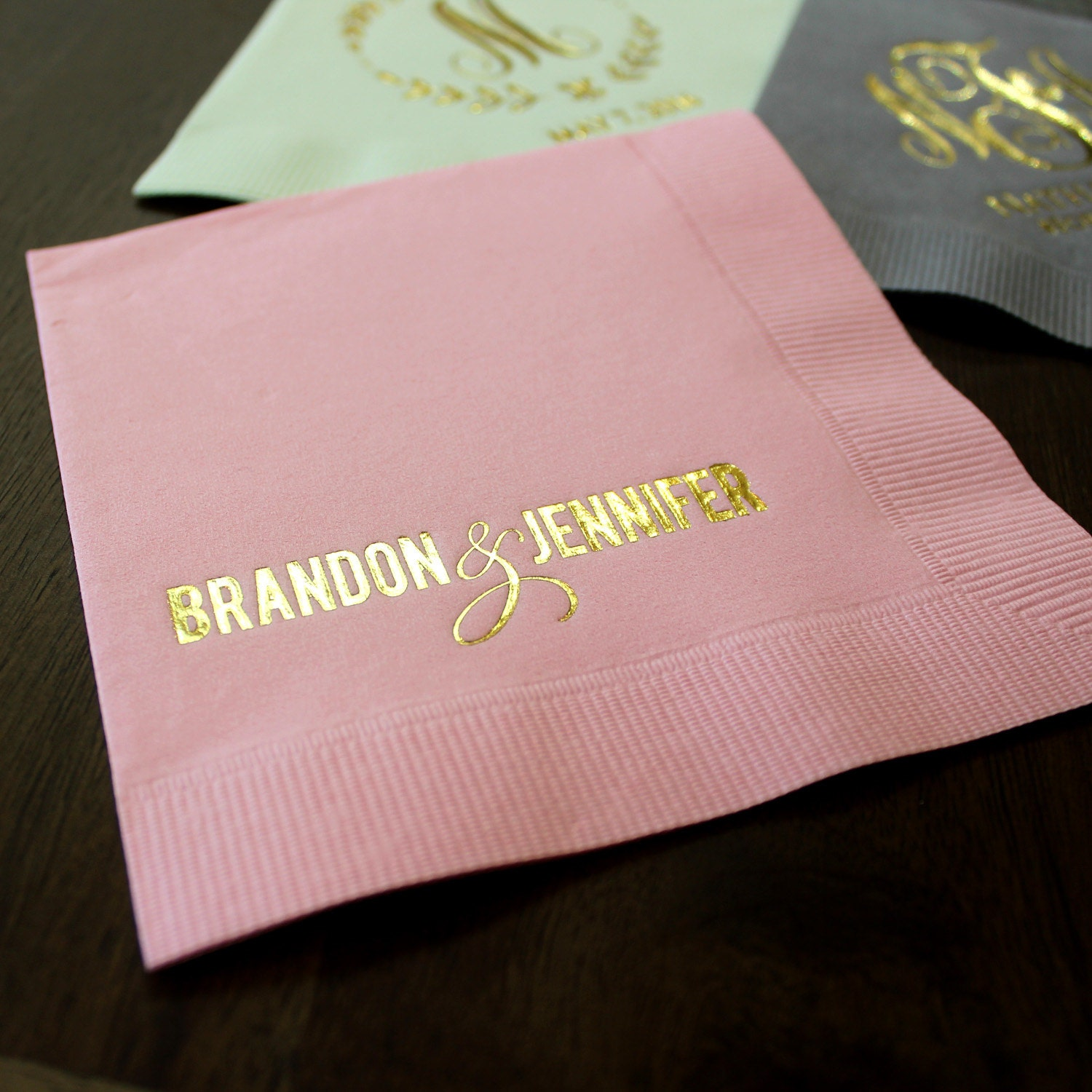 Custom Bride And Groom Wedding Napkins Personalized Beverage