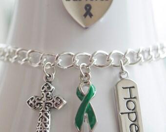 Liver Cancer Awareness Charm Bracelet