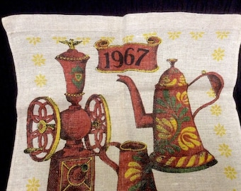 "Vintage Lois Long 1967 Linen Calendar Tea Towel. Coffee Grinder Pot. 15"" X 27"""