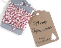 Christmas Gift Tags Set of 10 - Kraft Tags with Christmas Tree - Personalized Christmas Tags - Custom Holiday Favors - Present Labels