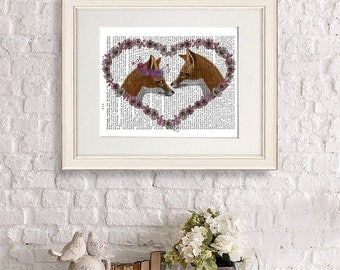 Paper anniversary gift - Foxes in Heart Landscape  Fox Art Print unique wedding gift idea woodland fox print fox gift Woodland nursery decor