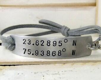 Latitude Longitude Bracelet, Hand Stamped Bracelet, Personalized Bracelet, Custom Bracelet, Long Distance Bracelet, Personalized Bracelet