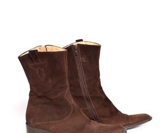 Vintage Brown Real Suede Western Boots