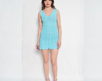 Vintage Crochet Turquoise Dress / Sleeveless Mini Dress / Crochet Mini Summer Dress
