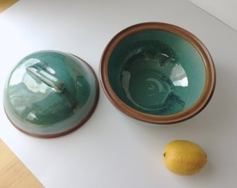 Large covered serving bowl - 8 cup in rustic teal - SALE