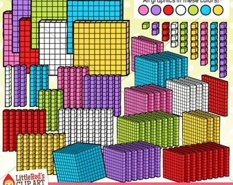 3D Base Ten Blocks Clipart and Lineart - personal and commercial use
