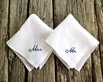 His and Hers Wedding Handkerchiefs, Wedding Day Monogrammed Hankerchiefs, Bride and Groom Hankies, Pocket Square and Handkerchief New Couple