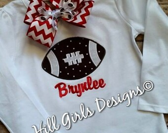 Football appliquéd shirt with embroidered name or monogram (boy or girl version)