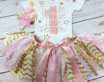 Any Age Personalized Twinkle Twinkle Little Star Pink and Gold Birthday Outfit Including, Onesie / Shirt, Fabric Tutu w/ Lace, and Headband
