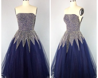 50s Navy Blue White Swirl Prom Dress - 1950s Vintage Tulle Cupcake Strapless Party Dress - Small - Size 2