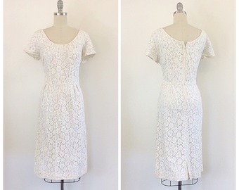 50s Lace and Pastel Wiggle Dress - 1950s Vintage Floral Party Dress - Large - Size 10