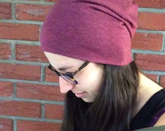 Slouchy beanie in adult plum jersey, unisex woman and man / Plum spring hat, women and men's perfect gift!