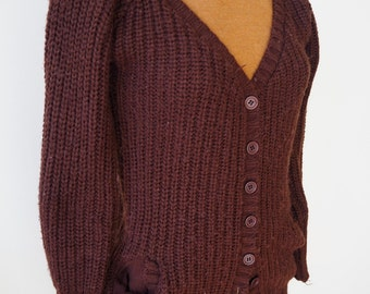 Women's chunky brown knit cardigan M