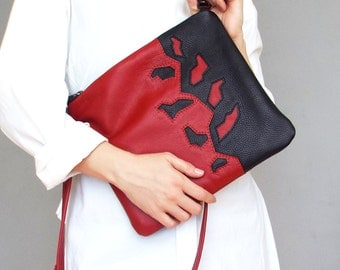 Leather crossbody bag. Black / red leather purse. Applique cross body bag.