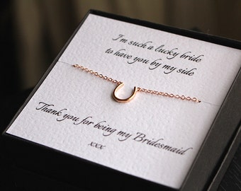 Bridesmaid necklace, horseshoe necklace, bridesmaid gift, bridesmaid jewelry, lucky charm, lucky charm necklace, bridesmaid jewellery