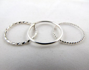 Sterling Silver Stacking Rings - Set and Singles
