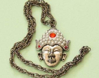Buddha Head Necklace *Buddhism,Buddha pendant,Buddhist jewelry,Zen,silver,gift idea,Eastern religion,meditation,spiritual,statement necklace
